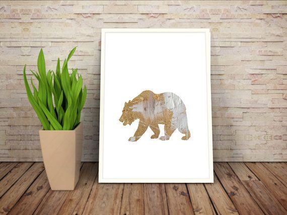 Gold Foil: Sheep Bear Fox Deer and Horse by WildAtArtDesigns