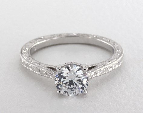 14K White Gold Hand Engraved Cathedral Engagement Ring By Martin Flyer