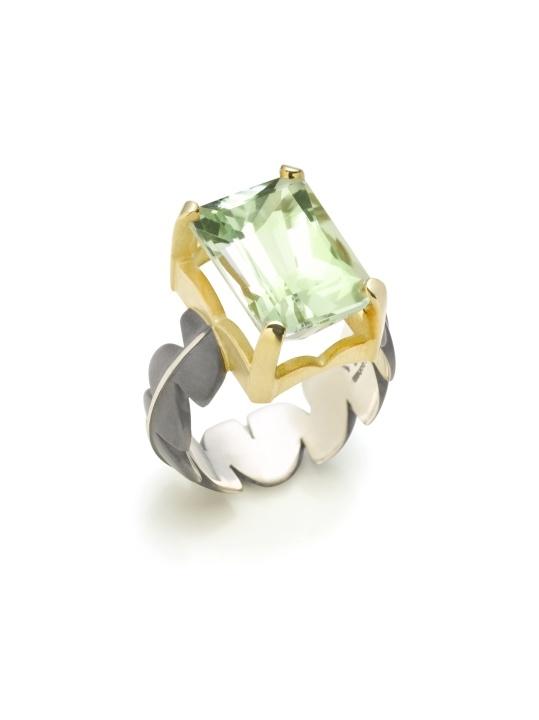 Jane Bohan | Oxidized sterling silver, 18K & green amethyst ring | Max's