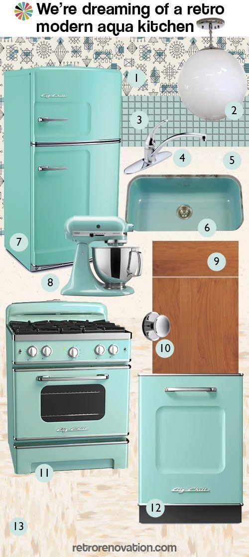 Weu0027re Dreaming Of A Retro Modern Aqua Kitchen