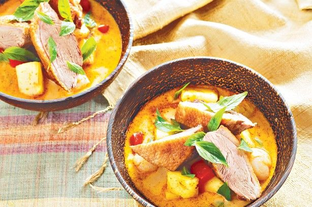 Sweet pineapple and lychees help temper the heat of this fiery red duck curry.