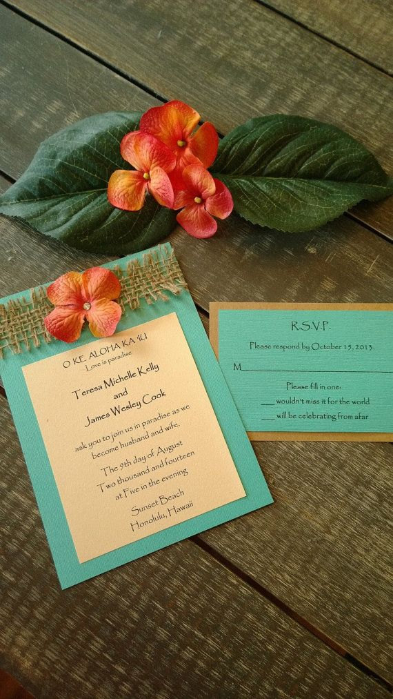 Hawaiian and Beach themed Destination Wedding Invitation Set in Tropical Turquoise and Coral or Hot Pink with swarovski crystal