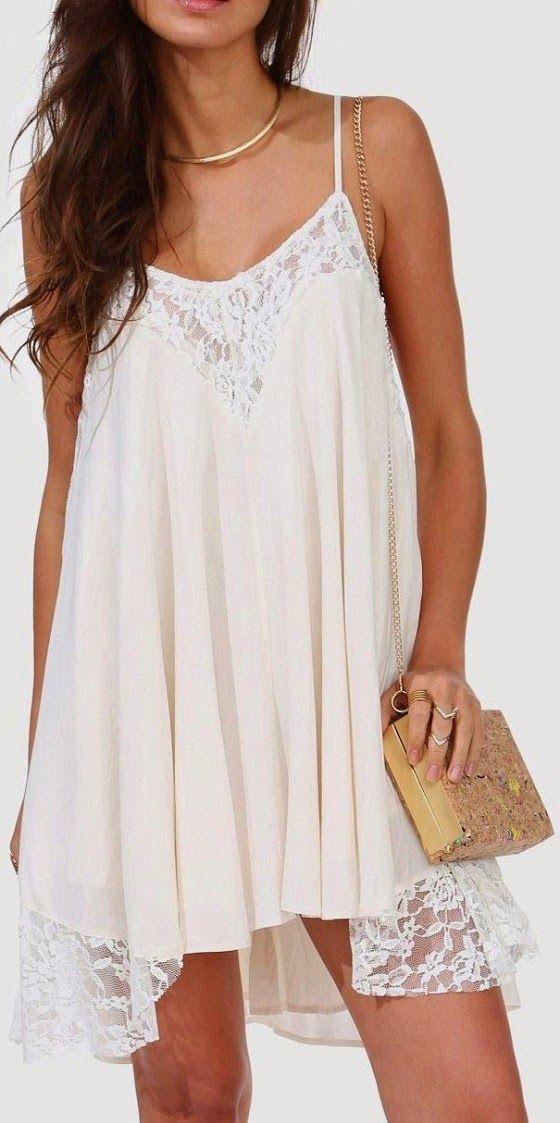 Sleeveless White Summer Neck Lace Frock