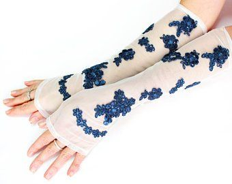White royal blue long lace gloves, wedding accessories extra long gloves, bridal glove, fingerless glove