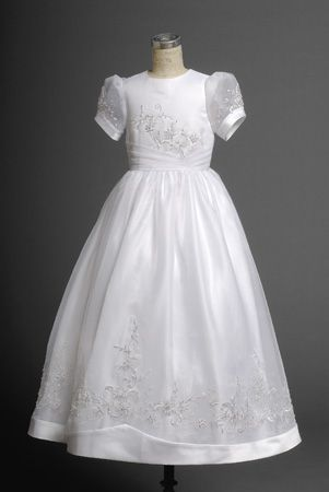 Sassy White Short Sleeves Round Applique Actual Fist Communion Dress -  2014 - victoriafirstcommunion.com