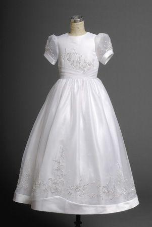 Sassy White Short Sleeves Round Applique Actual Fist Communion Dress -  2014 - victoriafirstcommunion.com