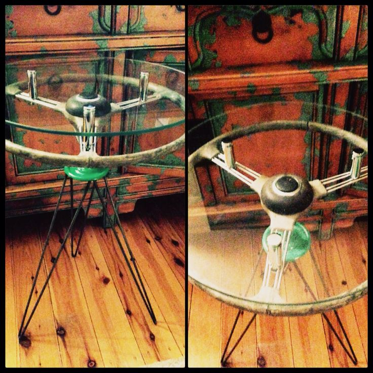 1950s Morris Steering Wheel occasional/side table. Custom hairpin legs and elevated glass top. Beautiful!