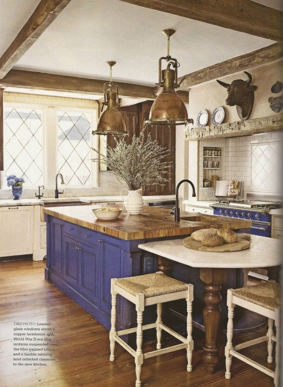 Mikes Country Kitchen Part - 43: Exceptional Country French Kitchens Decoration Tips. Industrial Kitchen  Style With Country French Kitchens Decors And Brass Pendant Lamps