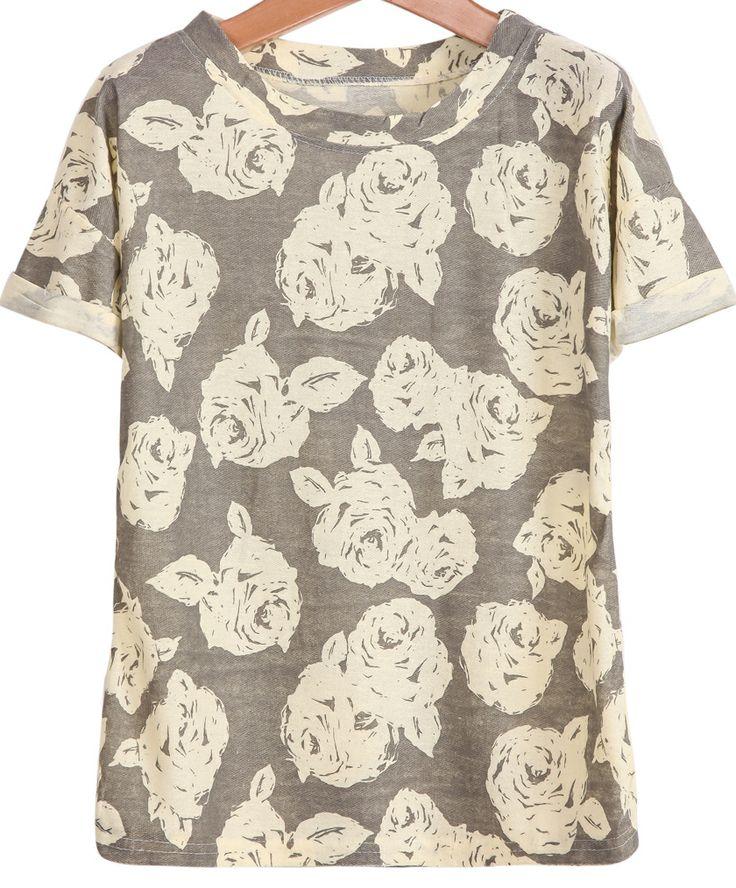 Grey Short Sleeve Rose Print T-Shirt 13.33
