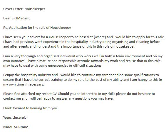 housekeeper cover letter - Cleaner Cover Letter