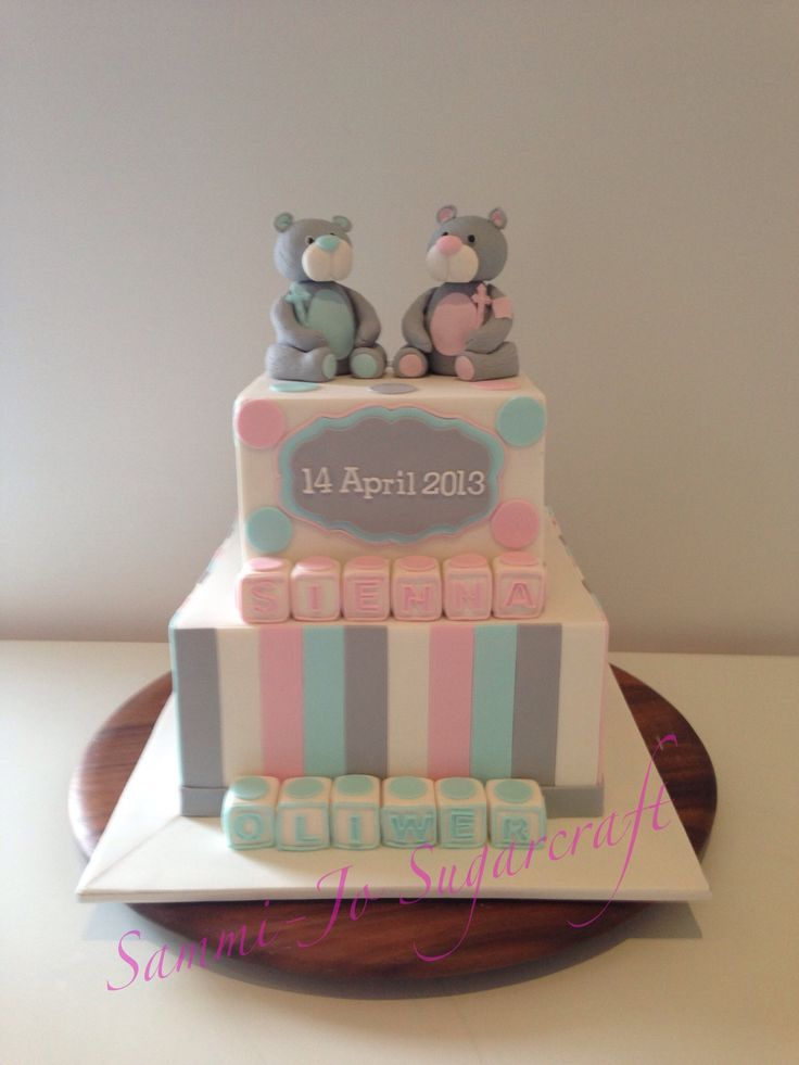 Christening cake for Twins - http://www.sammijo.com.au