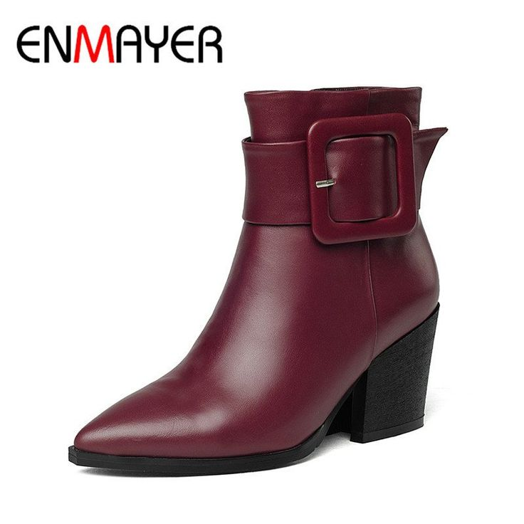 Womens Sythestic Block Heel Shoes Buckle Knight 3Colors Zipper Ankle Boot Ch 18