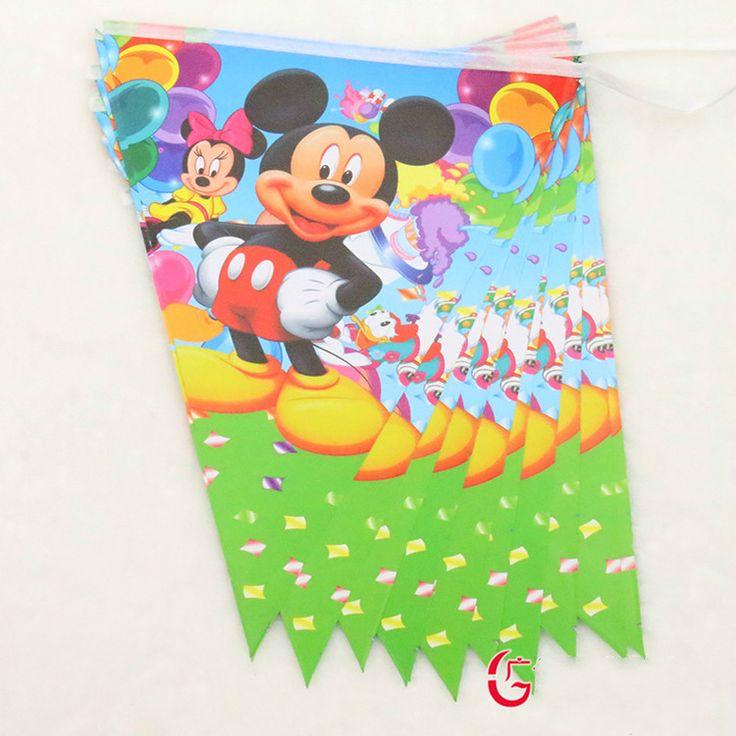 Микки Маус стиль бумаги Флаг дети сувениры для партии событие поставки ребенка счастливым день рождения декоративные флаги, 12 шт. 1 пакет