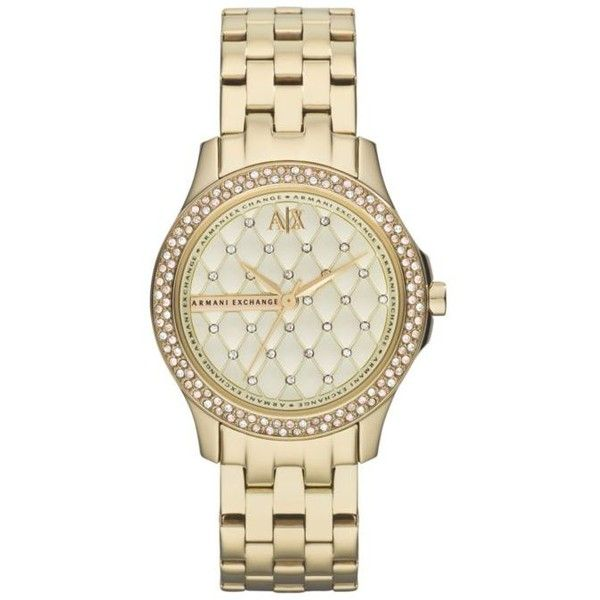 Armani Exchange Ax  Women's Gold-Tone Stainless Steel Watch ($190) ❤ liked on Polyvore featuring jewelry, watches, gold, stainless steel jewellery, stainless steel jewelry, gold colored jewelry, gold-tone watches and gold tone jewelry