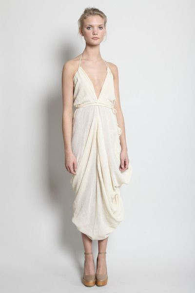 Totokaelo - Electric Feathers - Infinite Parachute Tent Dress with Half Moon Belt - Natural ($400.00) - Svpply