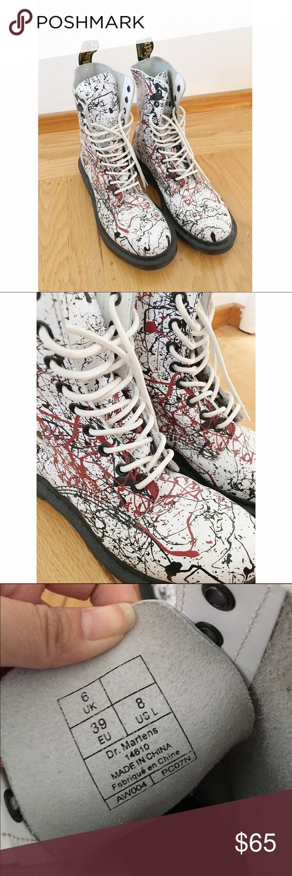 Limited Edition Doc Martens Red and black paint splatter docs . Limited edition and no longer sold in stores . Women's sz 8 . Worn once and has been sitting in my closet ever since . Like new . Urban Outfitters Shoes Combat & Moto Boots