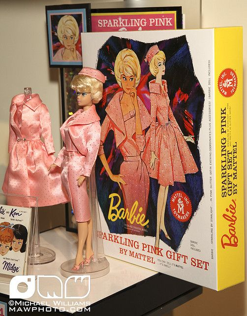 Sparkling Pink Barbie Doll Set....we had the pink coat on the left... I remember how hard it was to do the closure :)