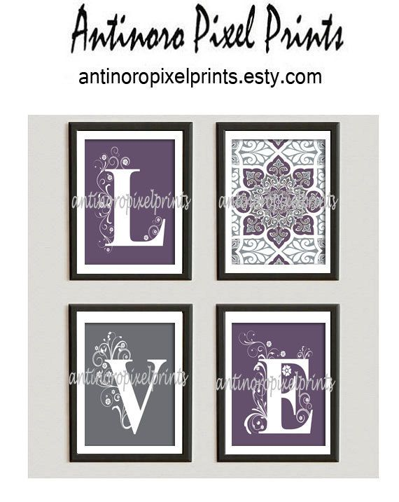 Home Decor Digital Love Purple Greys White by antinoropixelprints, $45.00