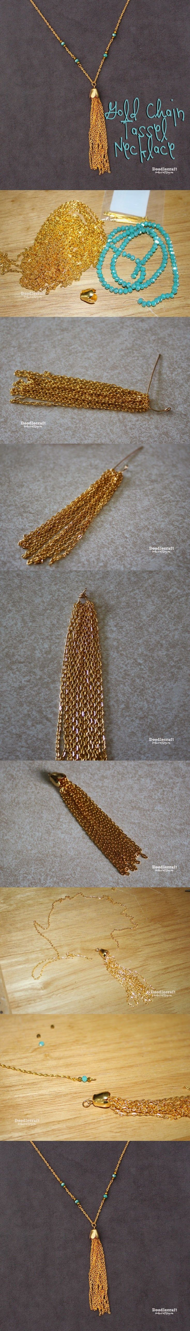 Easy Tutorial on Tassel Necklace with Gold Chain