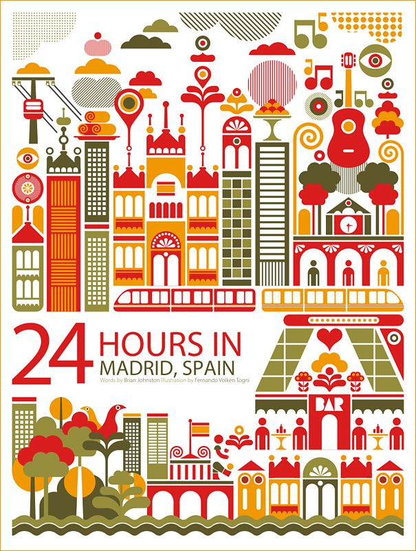 """24 Hours In Madrid, Fernando Volken Togni series of """"24 Hours in …"""" prints  // #graphicDesign #travel"""