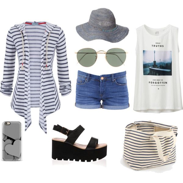 Summer by anna-suchodolska on Polyvore featuring maurices, Uniqlo, BLANKNYC, BAGGU, J.Crew, Scoop, stripes and Nautical