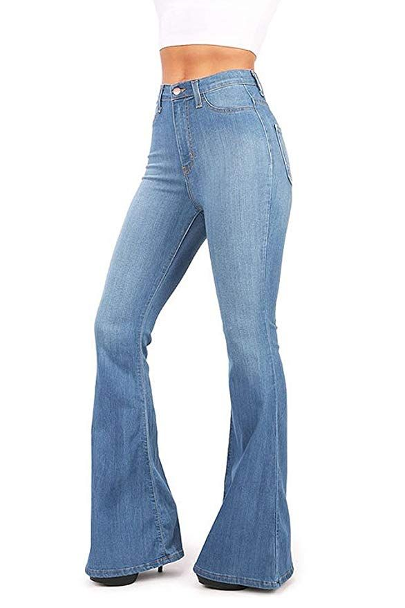 4eda0ba882b6d Vibrant Women s Juniors Bell Bottom High Waist Fitted Denim Jeans ...