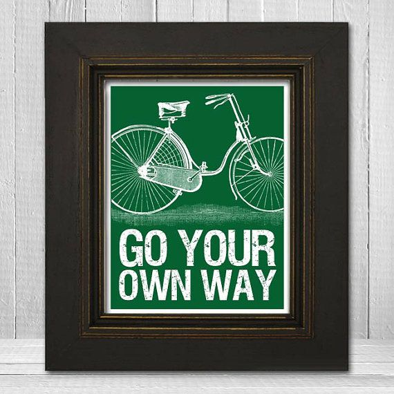 Motivational Art Poster 8x10  Bicycle Art Print  by TheLemonPeel, $20.00