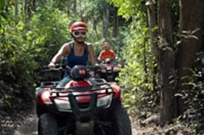Cozumel ATV Jungle and Snorkel Combo Enjoy a 4 hour Cozumel land and sea adventure. The excitement starts when you hop on your ATV in the local town of El Cedral, cover 8.5 miles (14km) of off road tracks, explore ancient Mayan caves, a Cenote (sink hole) and a small Mayan ruin. Included is a refreshing Dzul Ha Beach Club break!You'll be picked up from downtown Cozumel and taken to the local town of El Cedral. This is where your beach and jungle ATV adventure begins. Deci...