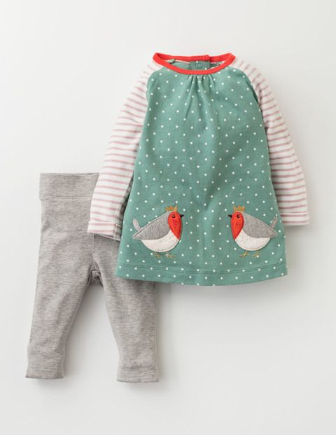 We've taken the stress out of busy mornings with this ready-made outfit. Our dress-and-leggings set is made from soft yet resilient cotton jersey, making it perfect for crawling adventurers. And, with its animal face pockets and bright colours, we think it looks pretty darn special too.