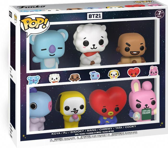 Characters From Bt21 Line Friends Are Now Available As Funko Pop Vinyl Figures This Seven Pack Includes Koya Rj Shooky Mang In 2020 Bts Merch Funko Pop Pop Dolls