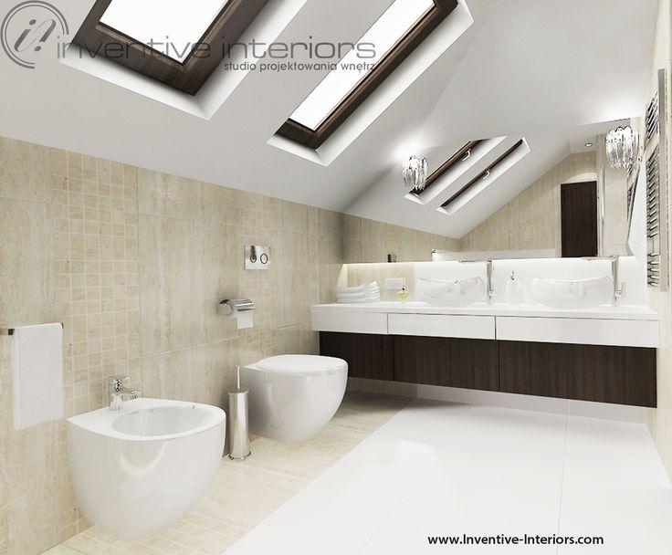 Projekt łazienki Inventive Interiors - miska wc i bidet pod skosem - najlepiej umieścić je pod oknami połaciowymi