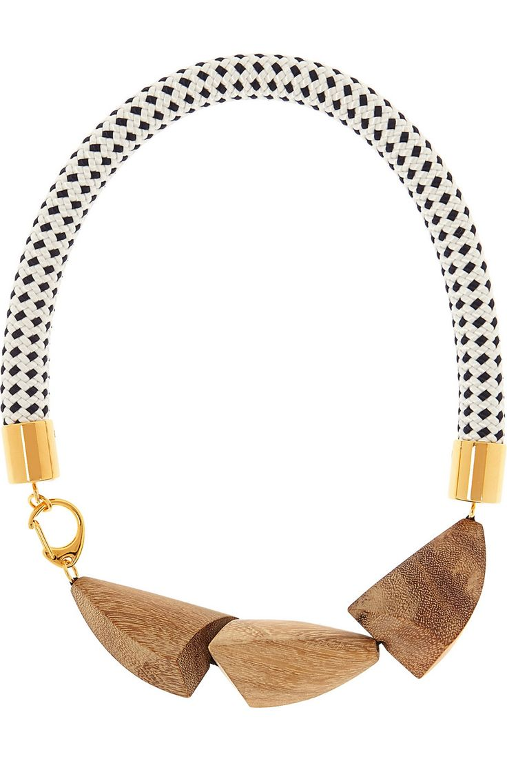Marni | Gold-plated, wood and rope necklace | NET-A-PORTER.COM