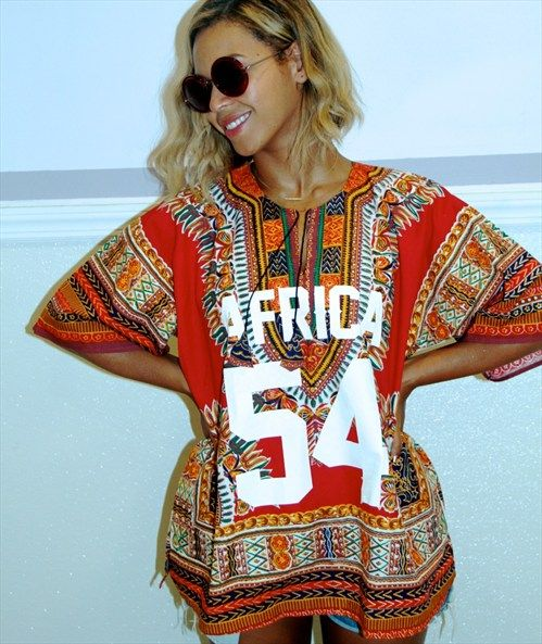 Beyonce in her custom dashiki shirt