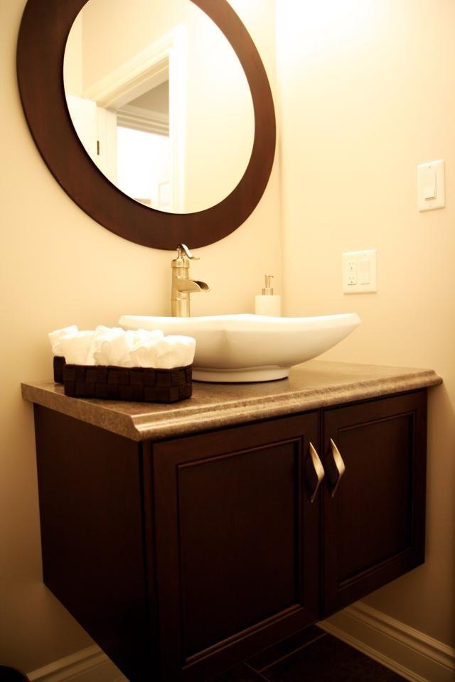 Cherry Floating Vanity Vessel Sink By Allen Interiors Design