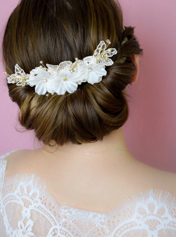 Bridal Hair Comb  Bridal Hairpiece  Lace Comb by JanaRoyaleDesign