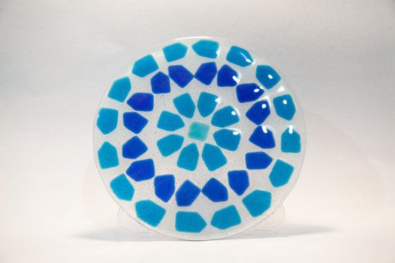 Decorative Round Fused Glass Mosaic Plate by AtelierThalia on Etsy