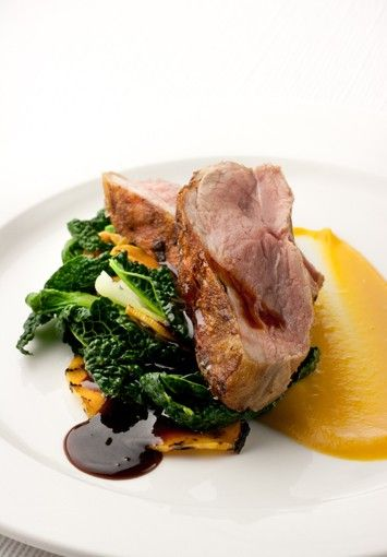 Roasted Lamb Rump With Curried Squash Sweet Potato Puree Bok Choy Spring Greens