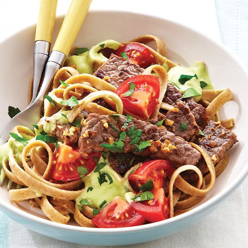 Who says you can only enjoy guacamole with chips? Toss it with pasta and beef on busy work nights.