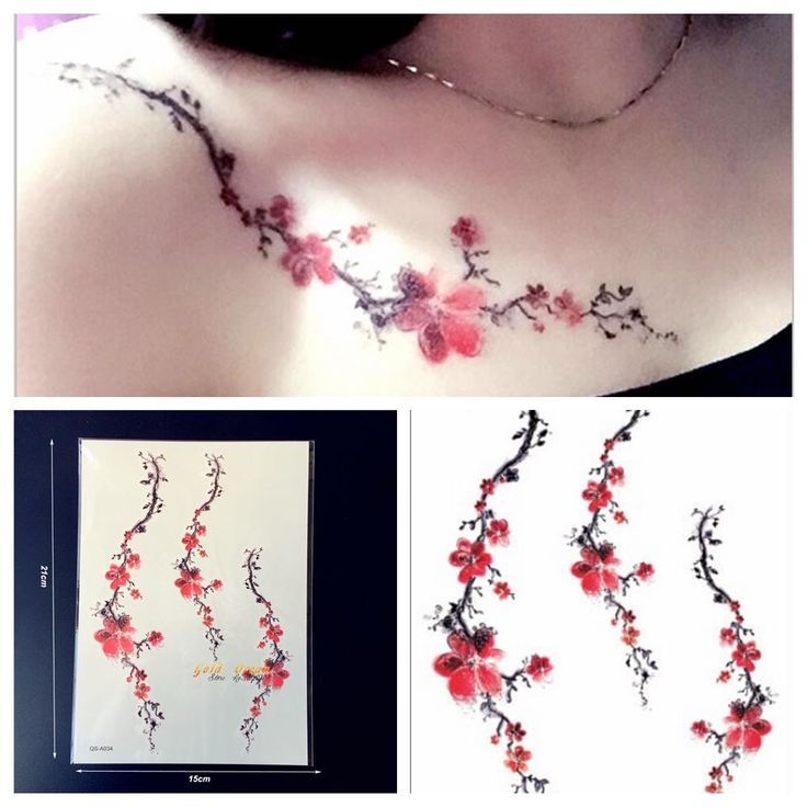 1PC Women Sexy Tattoo Plum Blossom Pattern GQS-A034 Branch Red Sakura Tattoo Paster Summer Style Tattoo Fake Waterproof Tatoo