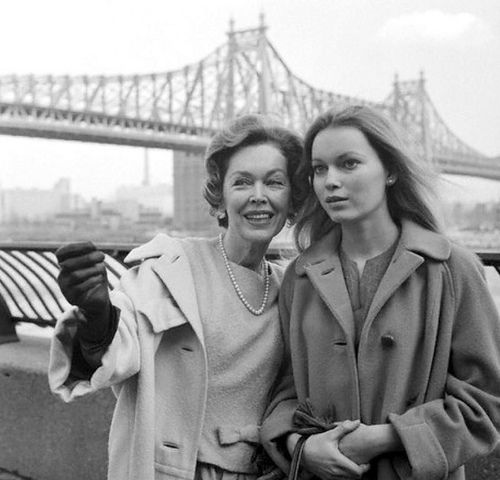 Maureen O'Sullivan and daughter Mia Farrow, 1963
