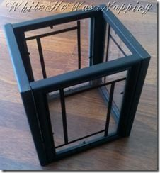 four cheap picture frames with glass painted black, glued together and vinyl or tape or paint design on glass...commenters suggested using a copper fence/deck post cap from Home Depot/Lowes for top and maybe a cheap mirror for the base to reflect the light of a candle or battery powered votive,,,also suggested filling with colored Christmas balls