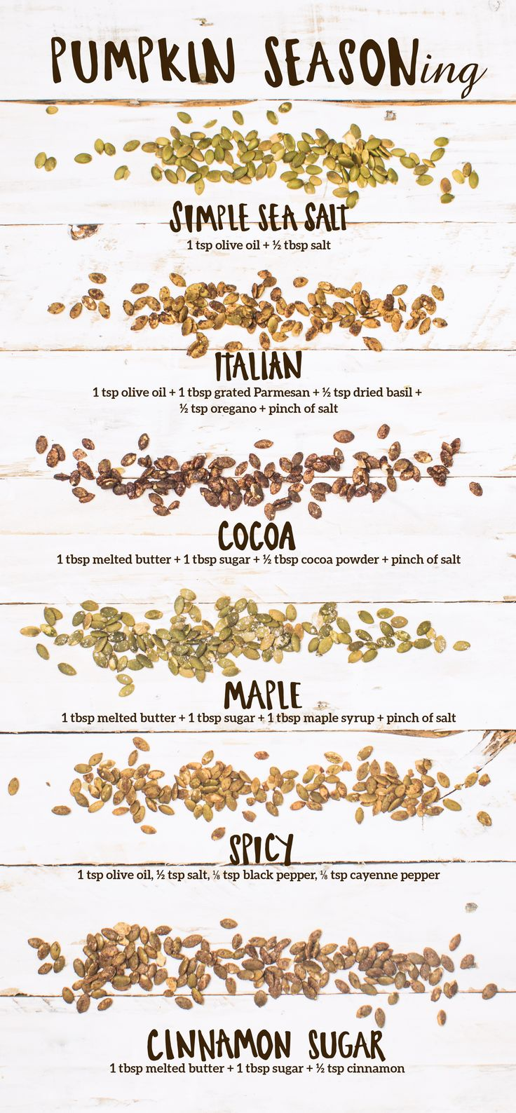 October is the season for seasoning—pumpkin seeds, that is! You can even use them straight from the jack-o-lantern. Once you've cleaned off the pumpkin seeds and patted them dry, set your oven to 300°, season your seeds with one of these delicious combos, and spread on a cookie sheet lined with parchment paper. Bake for 20-30 minutes and enjoy for a crispy, crunchy treat!