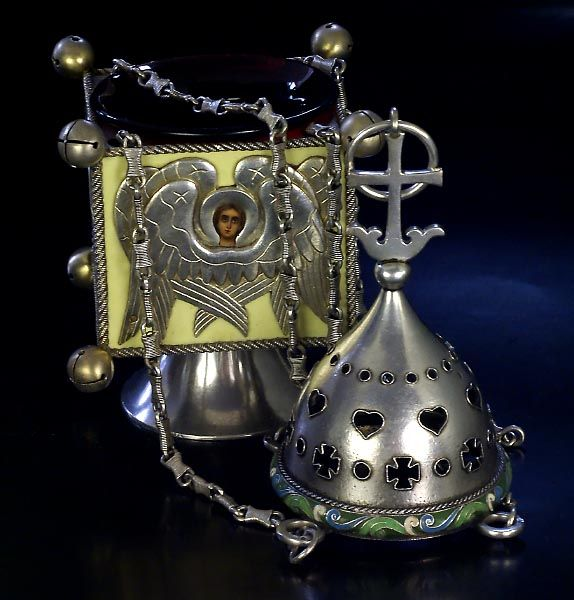 Russian Silver and Enamel Lampada (Icon Lamp)