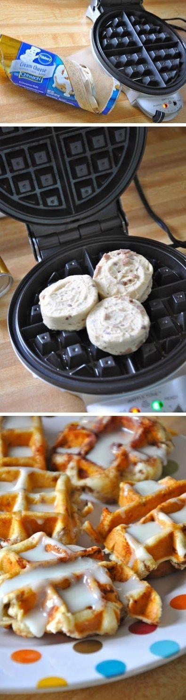 Cinnamon Roll Waffles   #genius