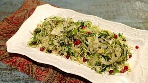 Shaved Brussels Sprouts and Fennel with Pomegranate and Pecorino Recipe | The Chew - ABC.com