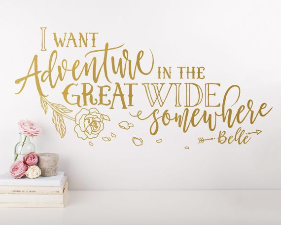 Dramatically convert the look of your living space with this cute wall decal inspired by Disneys Beauty and the Beast, giving your walls the look of a custom paint job without any of the hassle! This decal is created from my unique, original design and isnt available from any other seller, ensuring your product is one of a kind. ***ITEM DETAILS***  • Decal is available in 3 sizes:  - 28 X 13  - 35 X 16.5  - 48 X 23  • See 5th preview image for available colors  • Every color has a beautiful…