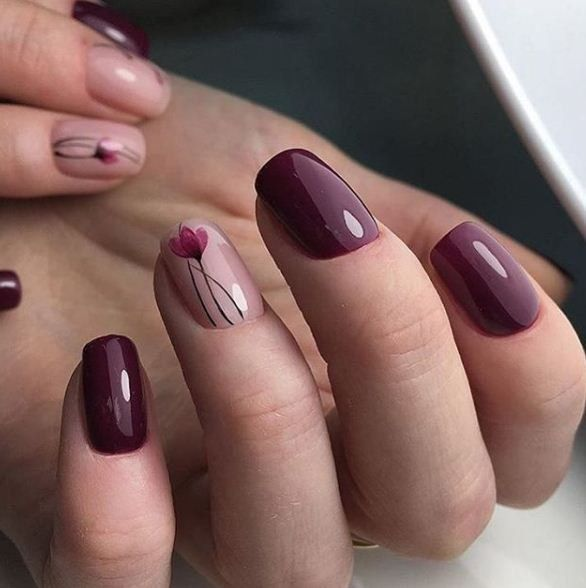 Brown and Pink Nails | Tulip Nail art |Nail design | Unhas Decoradas com Rosa e Marrom | Unhas com Tulipas | Flores | Nail Polish | Fancy | Chic | Elegante  @pelikh_Маникюр | Видео уроки | Art Simple Nail