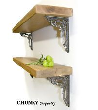 Rustic Wood Thin Shelf Shelves Victorian Flower Metal Iron Brackets