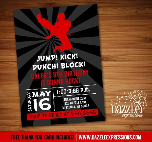Printable Modern Karate Birthday Invitation | Martial Arts | Tae Kwon Do | Ninja | Boy Birthday Party Idea | FREE thank you card included |  Banner | Cupcake Toppers | Favor Tag | Food and Drink Labels | Signs |  Candy Bar Wrapper | www.dazzleexpressions.com