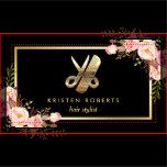 """================= ABOUT THIS DESIGN ================= Eye Catching 3D Gold Scissors Hair Stylist Floral Business Card Template. (1) For further customization, please click the """"Customize it"""" button and use our design tool to modify this template. (2) If you need help or matching items, please contact me."""
